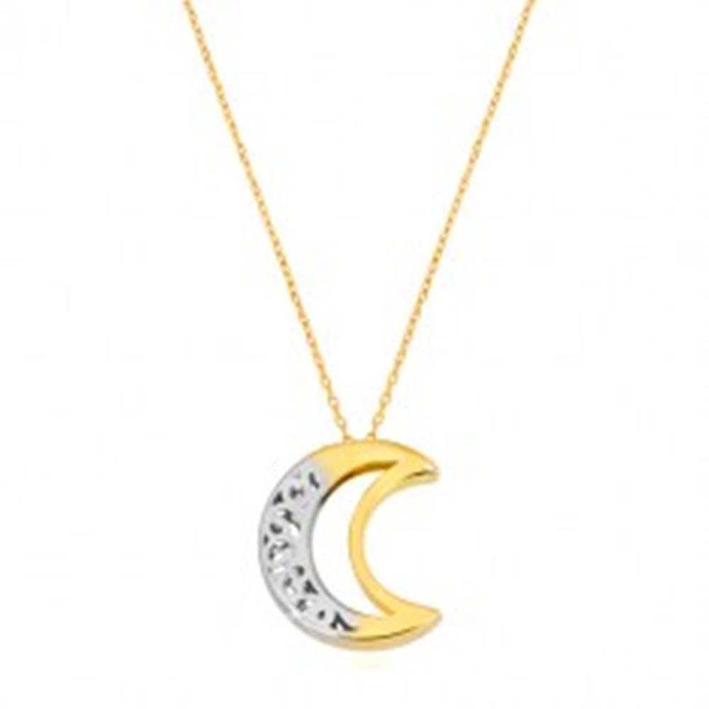 Šperky eshop Náhrdelník v 14K zlate - obojstranný ornamentálny polmesiac s výrezom