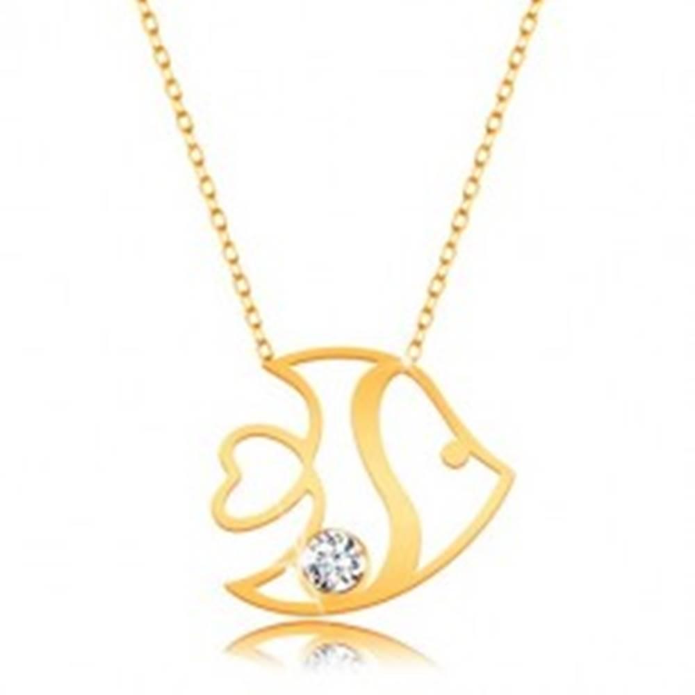 Šperky eshop Náhrdelník v 14K žltom zlate - lesklá rybička s výrezmi a zirkónom, tenká retiazka