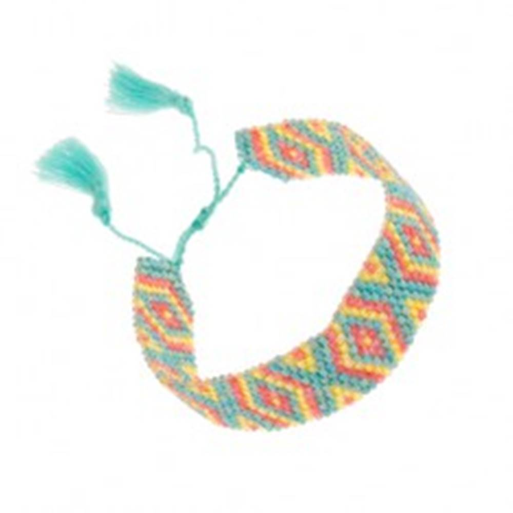 Šperky eshop Náramok z korálok, tyrkysový, červený a žltý odtieň, vzor - kosoštvorce