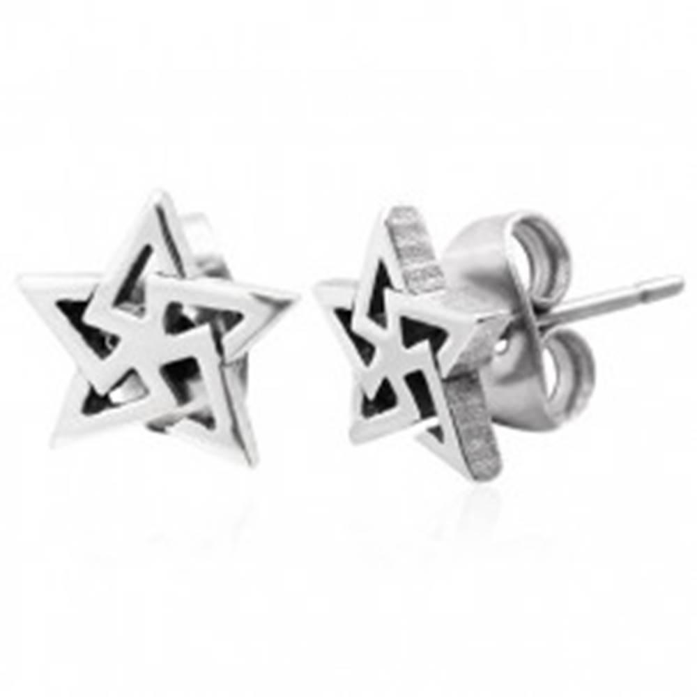 Šperky eshop Náušnice, oceľ 316L, obrys hviezdy - trojuholníky, strieborný odtieň