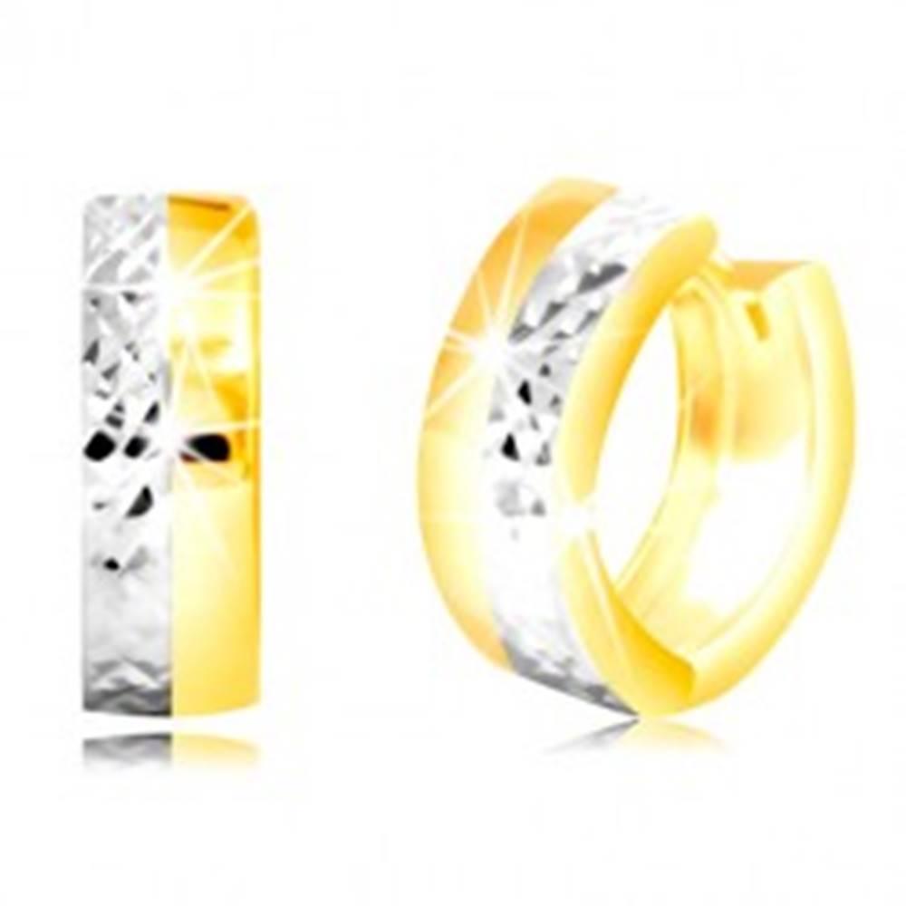 Šperky eshop Okrúhle náušnice v kombinovanom zlate 585 s vybrúsenou polovicou