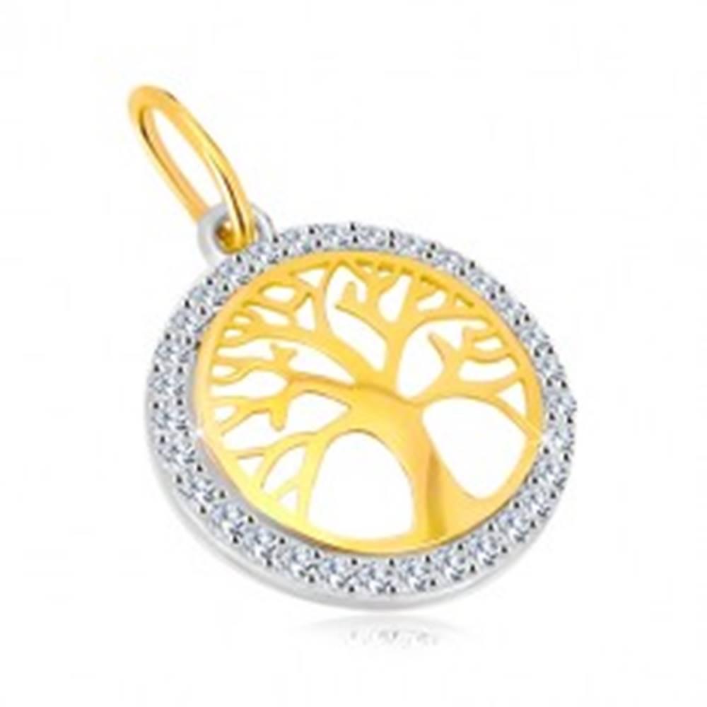 Šperky eshop Prívesok v kombinovanom 14K zlate - kruh so stromom života, ligotavé zirkóny