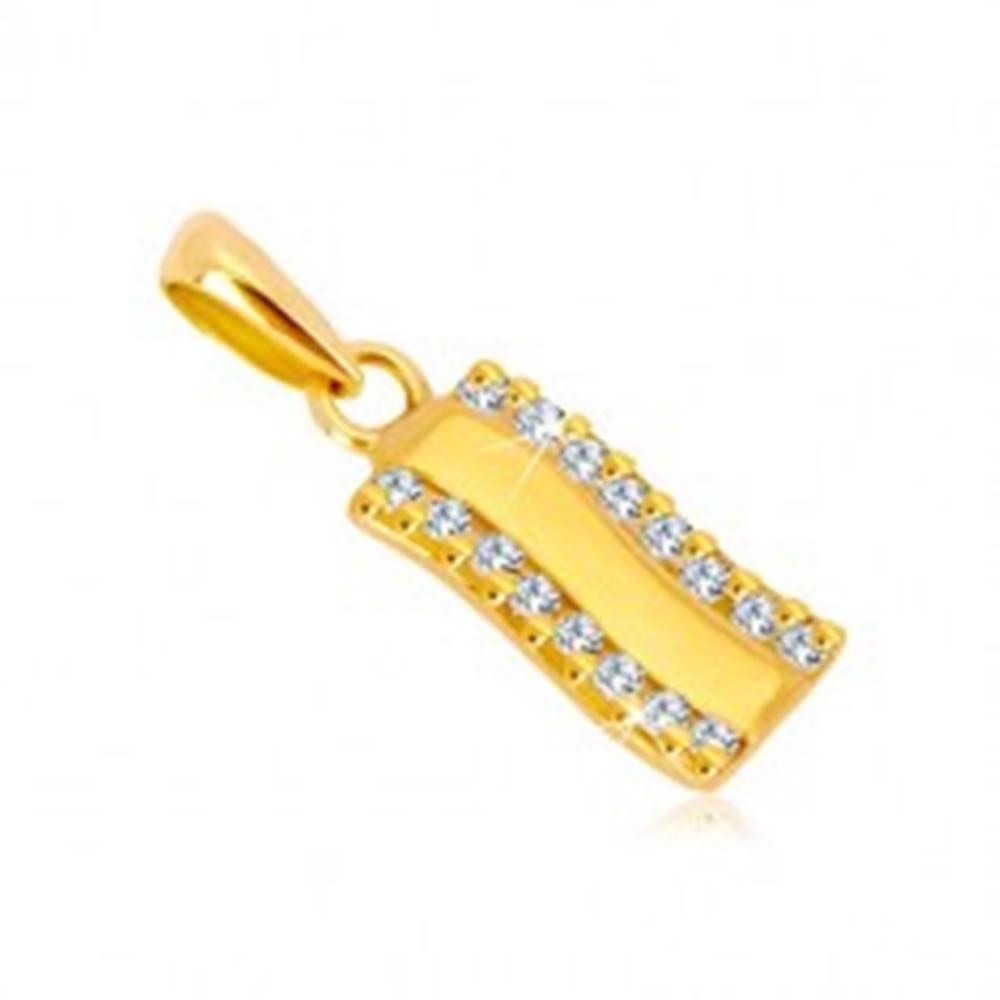 Šperky eshop Prívesok v žltom zlate 585 - lesklý zvlnený pás, zvislé zirkónové línie