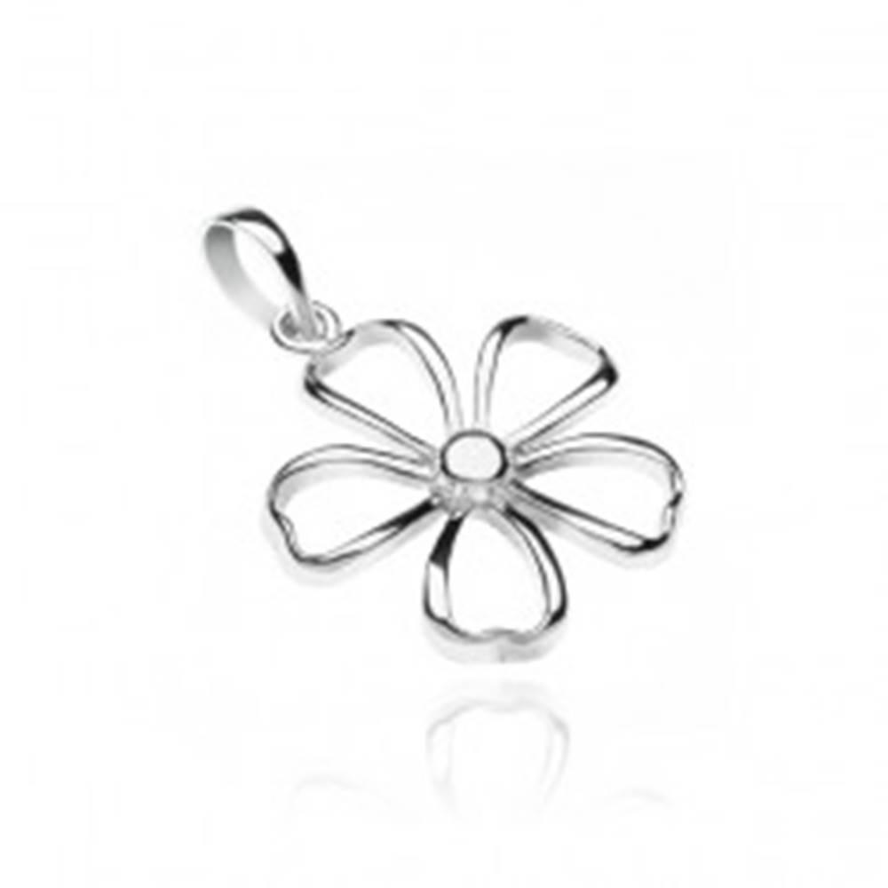 Šperky eshop Prívesok zo striebra 925 - lesklý obrys kvetu