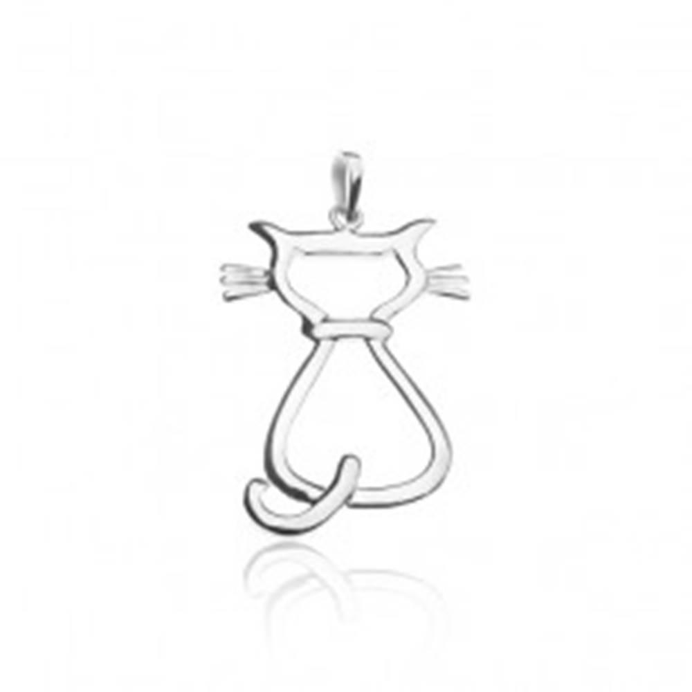 Šperky eshop Prívesok zo striebra 925 - sediaca mačka