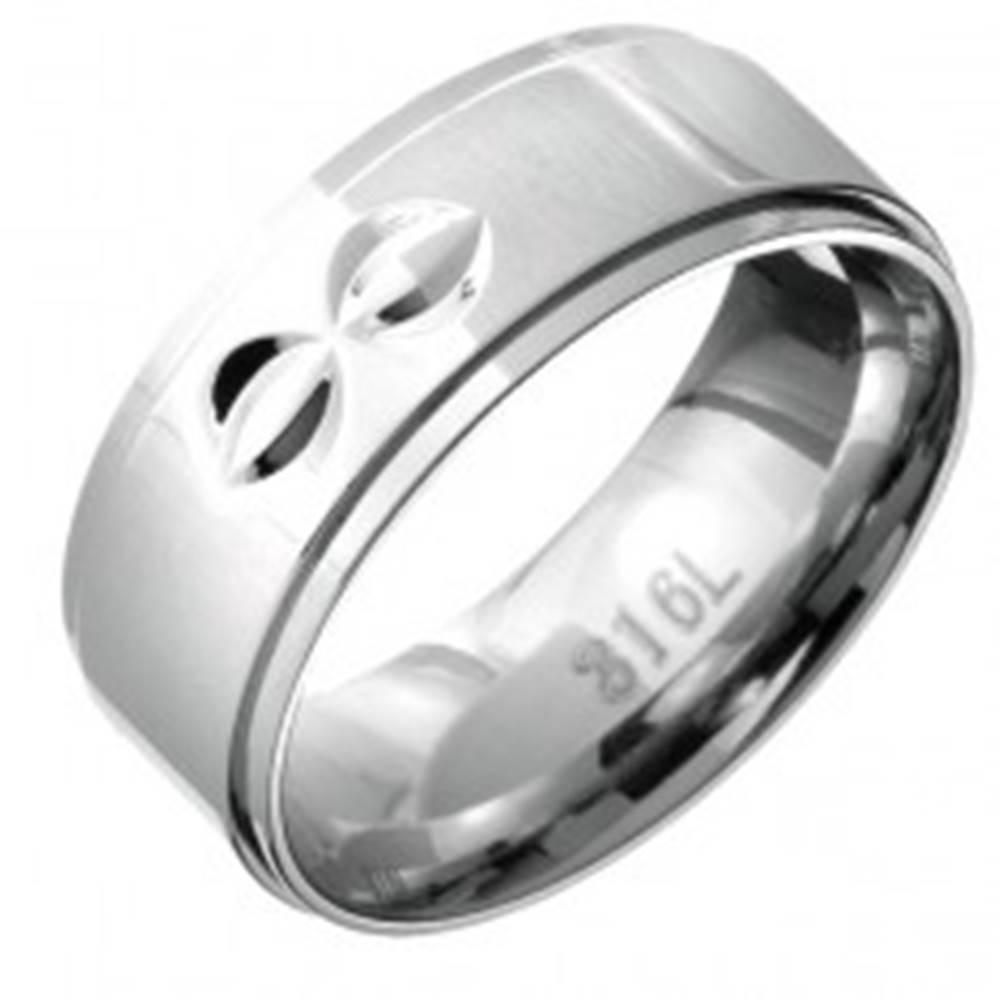 Šperky eshop Prsteň z ocele - vystúpený stred s dvojitými polmesiačikovitými zárezmi - Veľkosť: 59 mm
