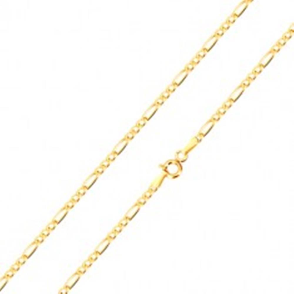 Šperky eshop Retiazka zo zlata 585 - vzor Figaro, tri oválne a jedno podlhovasté očko, 500 mm