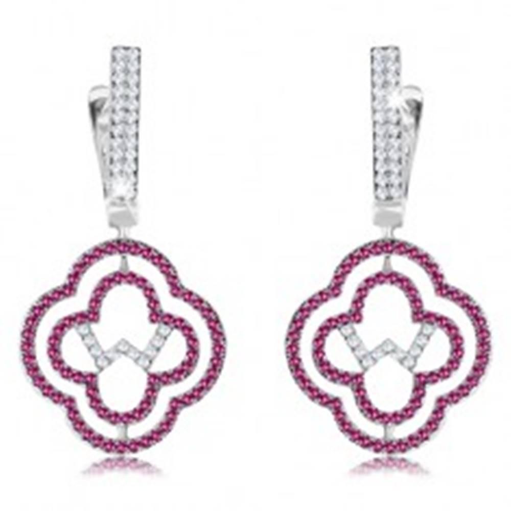 Šperky eshop Strieborné 925 náušnice, dvojitá kontúra kvetu, ružové a číre zirkóny