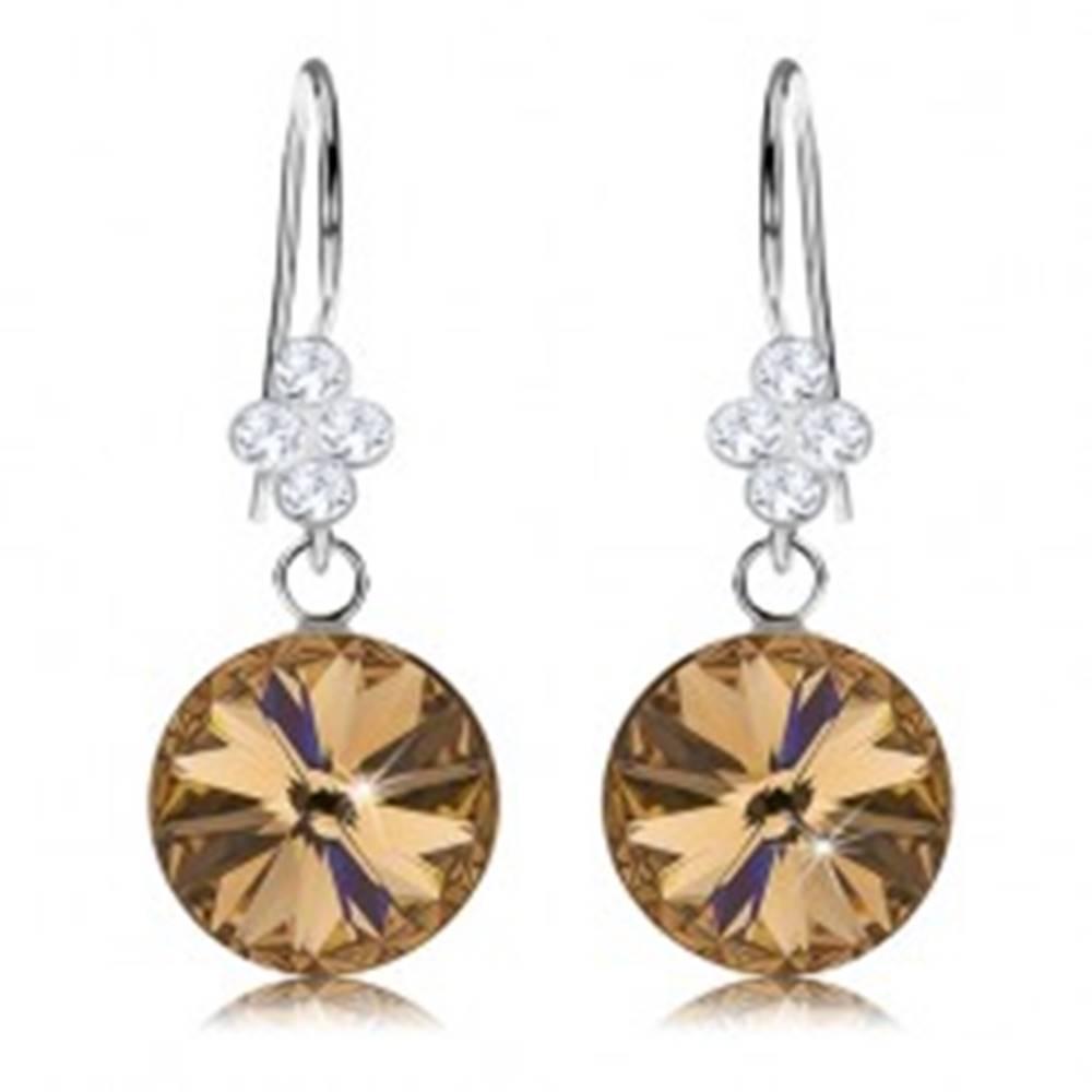 Šperky eshop Strieborné náušnice 925, okrúhly Swarovski krištáľ zlatej farby, lístok, 11 mm