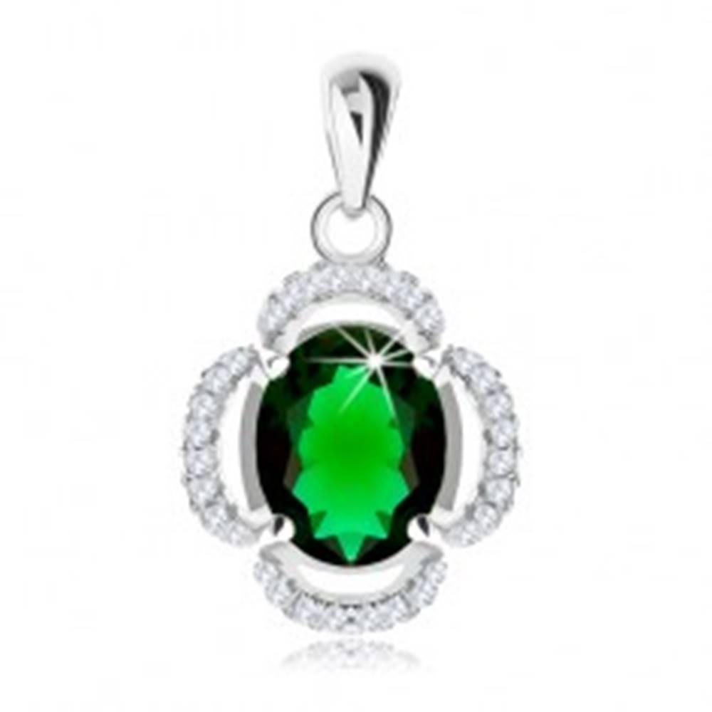Šperky eshop Strieborný prívesok 925, kvet - oválny zelený zirkón, číre obrysy lupeňov