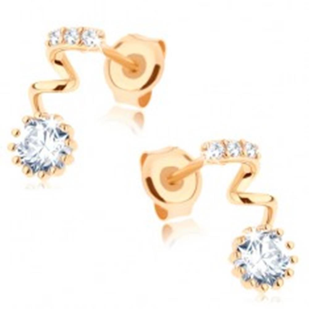 Šperky eshop Zlaté náušnice 585 - okrúhly číry zirkón na špirále, pásik z drobných zirkónikov
