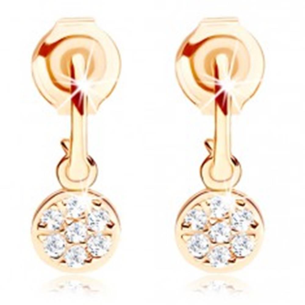 Šperky eshop Zlaté náušnice 585 - úzky oblúčik, visiaci kruh vykladaný čírymi zirkónmi