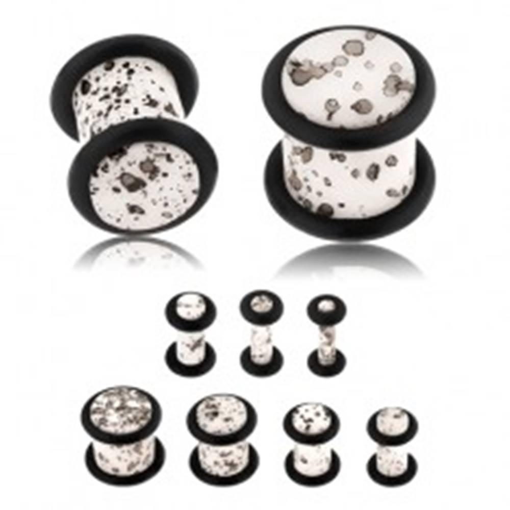 Šperky eshop Akrylový plug do ucha, povrch bielej farby s čiernymi fliačikmi, čierne gumičky - Hrúbka: 10 mm