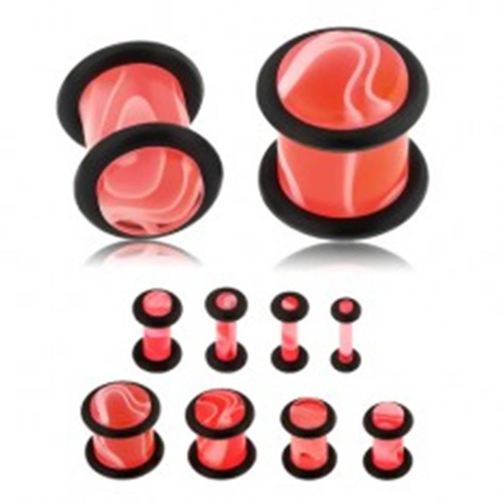 Šperky eshop Akrylový plug do ucha ružovej farby, mramorový vzor, dve čierne gumičky - Hrúbka: 10 mm