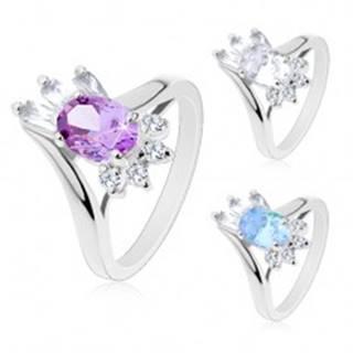Lesklý prsteň, brúsený oválny zirkón, obdĺžnikové a okrúhle zirkóniky čírej farby - Veľkosť: 49 mm, Farba: Číra