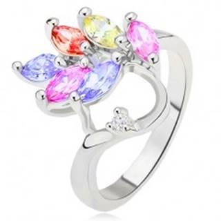 Lesklý prsteň, farebné zrnkovité zirkóny - list, číry kamienok - Veľkosť: 48 mm