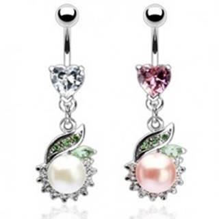 Luxusný piercing brucha perla so zeleným lístkom - Farba zirkónu: Číra - C