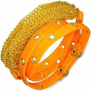 Náramok z umelej kože - retiazky zlatej farby, neónovo oranžový vybíjaný pás