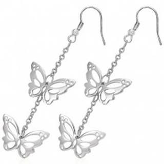 Náušnice z chirurgickej ocele - vyrezávané motýle na retiazke, háčiky