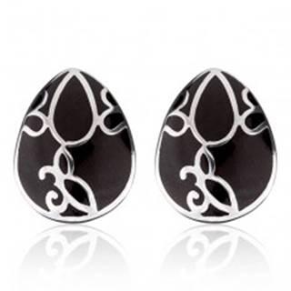Náušnice z ocele - čierna slza s ornamentom