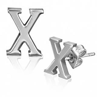 Oceľové náušnice - hladký tvar písmena X