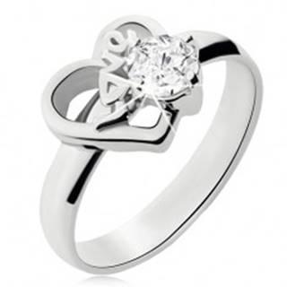 Oceľový prsteň s čírym kamienkom, obrys nesúmerného srdca, Love - Veľkosť: 49 mm