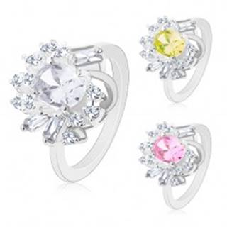 Prsteň v striebornom odtieni, veľký brúsený ovál, okrúhle a obdĺžnikové zirkóny - Veľkosť: 48 mm, Farba: Ružová