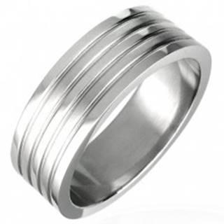 Prsteň z chirurgickej ocele so štyrmi ryhami, matný - Veľkosť: 51 mm