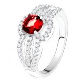 Prsteň zo striebra 925, červený kameň, oblé zirkónové línie - Veľkosť: 49 mm