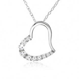 Retiazka, obrys srdca so zirkónovou polovicou - náhrdelník, striebro 925