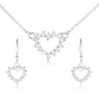 Set zo striebra 925 - náhrdelník a visiace náušnice, zirkónový obrys srdca