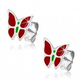 Strieborné puzetové náušnice 925 - červeno-zelený motýľ