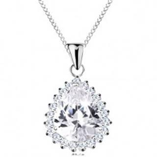 Strieborný náhrdelník 925, veľká brúsená kvapka čírej farby, ligotavý lem