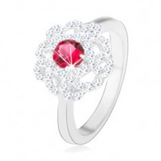 Strieborný prsteň 925, kvet s tmavoružovým zirkónom a zvlnenými líniami - Veľkosť: 49 mm
