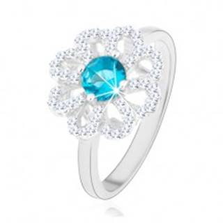 Trblietavý prsteň, striebro 925, zirkónový kvet - číre lupene, svetlomodrý stred - Veľkosť: 49 mm