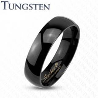 Tungstenový hladký čierny prsteň, vysoký lesk, 2 mm - Veľkosť: 47 mm