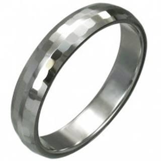 Volfrámový prsteň s jemnými brúsenými obdĺžnikmi, 3 mm - Veľkosť: 49 mm
