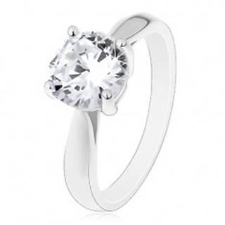 Zásnubný prsteň - striebro 925, lesklé zaoblené ramená, veľký číry zirkón - Veľkosť: 50 mm