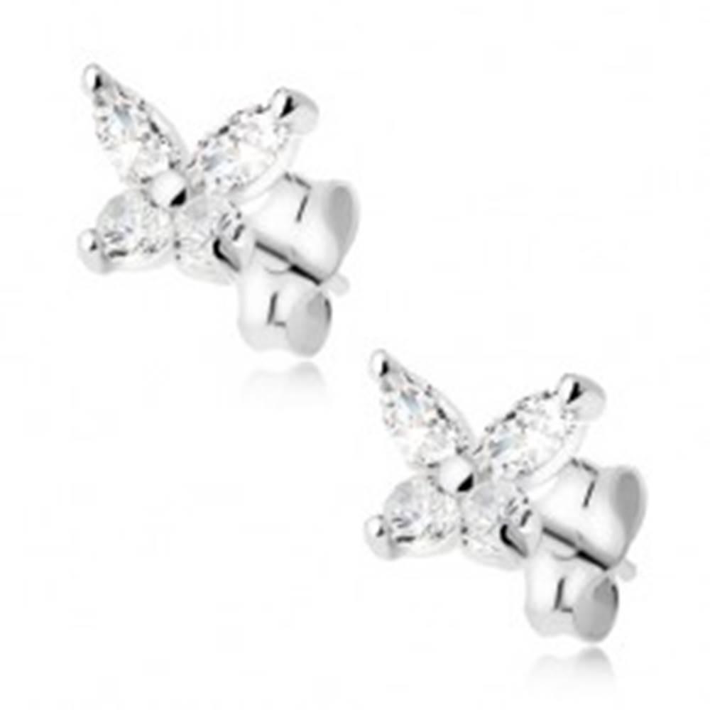 Šperky eshop Číry zirkónový motýľ, náušnice zo striebra 925
