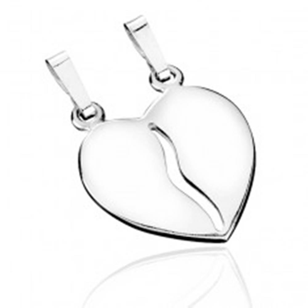 Šperky eshop Dvojprívesok zo striebra 925 - rozpolené lesklé srdce