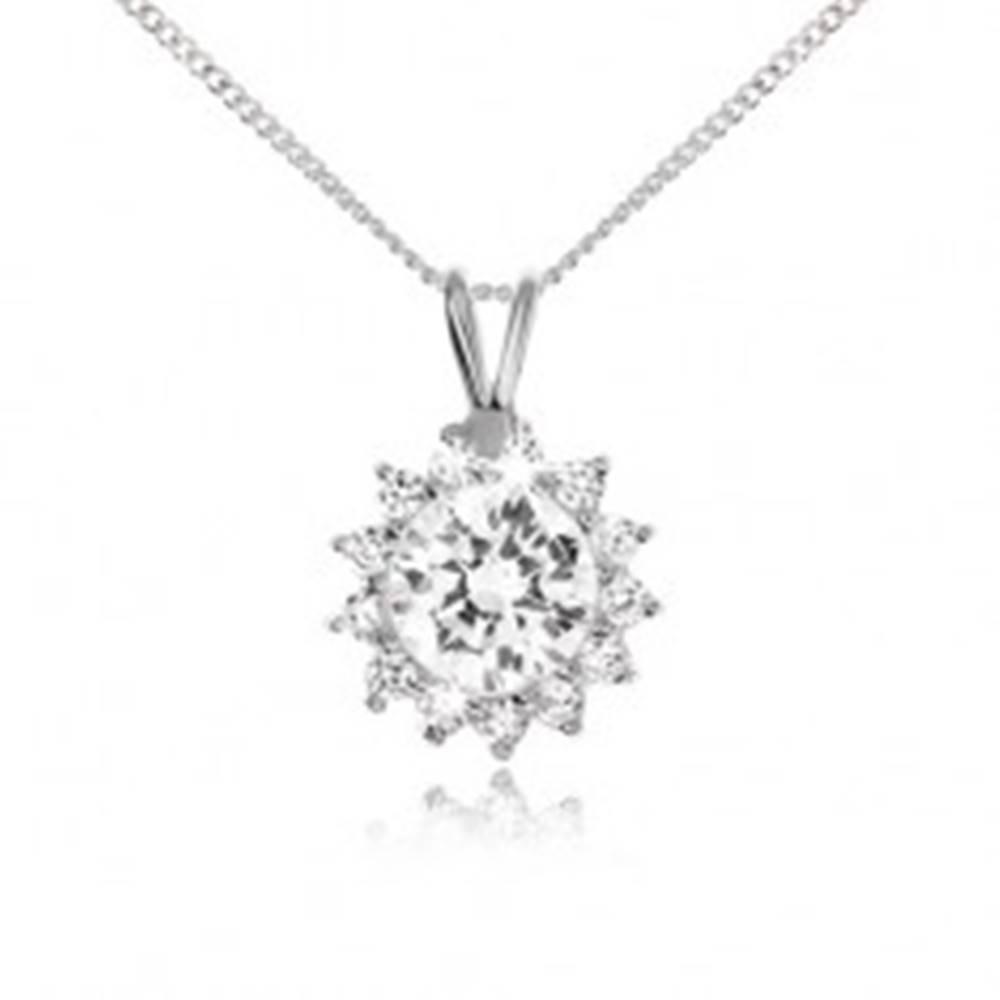 Šperky eshop Náhrdelník s čírym zirkónovým slnkom, zo striebra 925