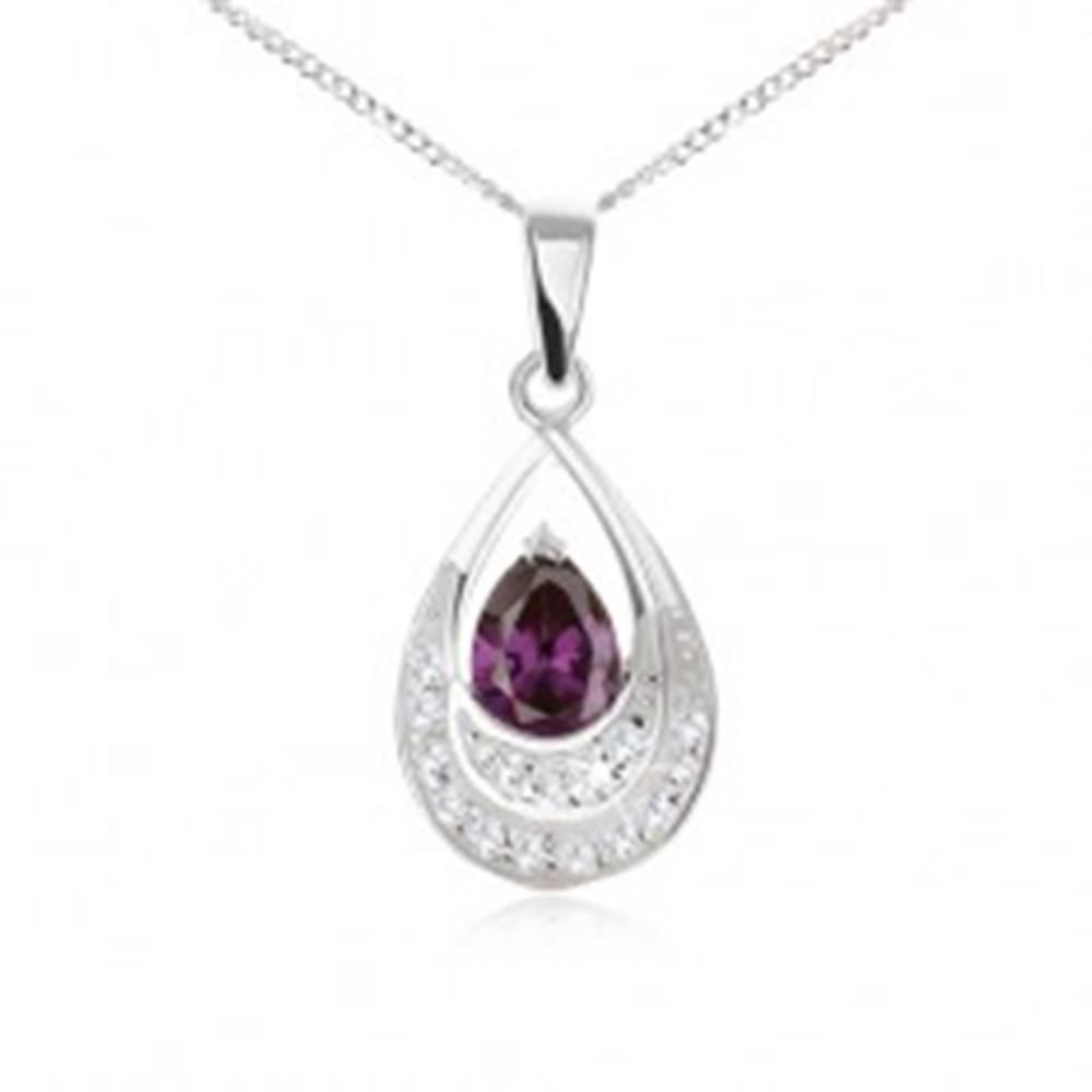 Šperky eshop Náhrdelník zo striebra 925 - retiazka, kvapka s tmavofialovým zirkónom