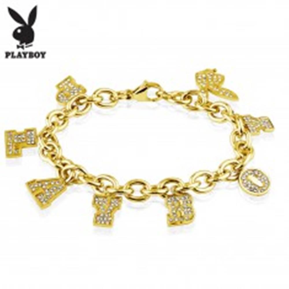 Šperky eshop Náramok z chirurgickej ocele zlatej farby, prívesky - nápis PLAYBOY a zajačik