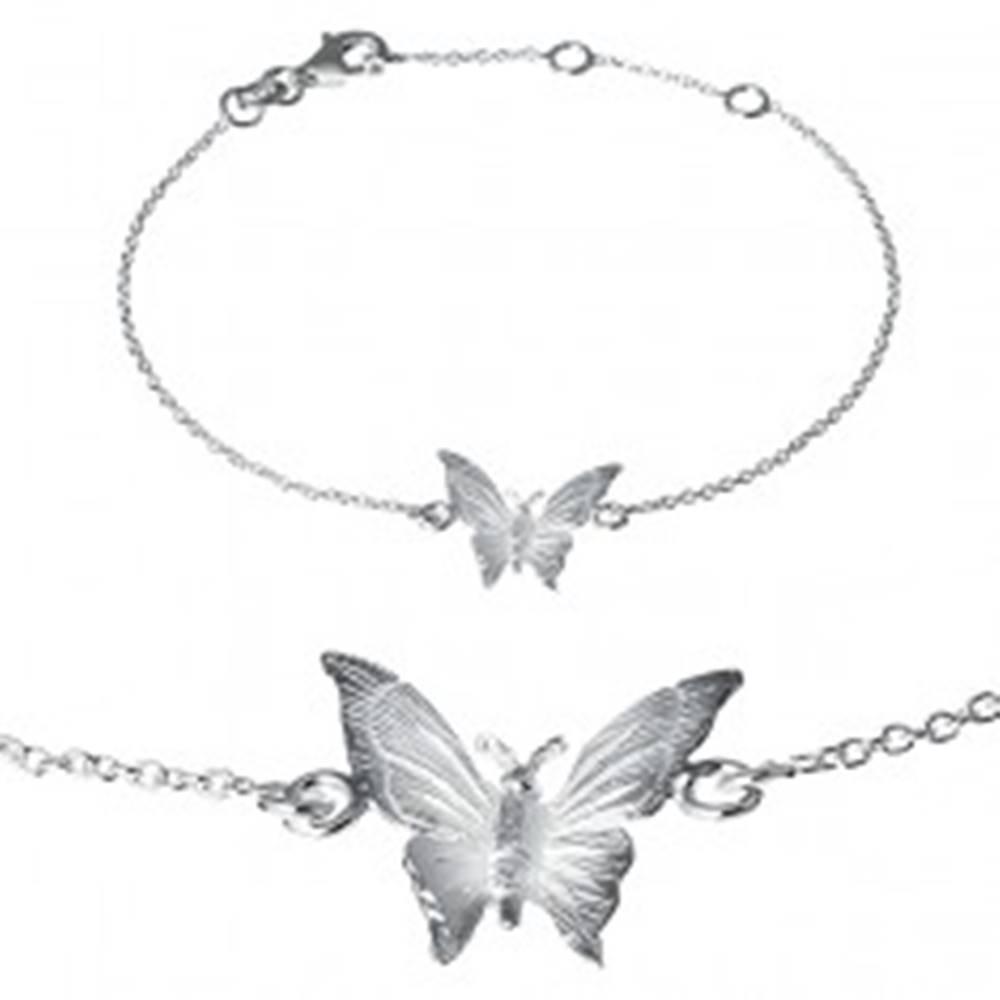 Šperky eshop Náramok zo striebra 925 - gravírovaný motýlik na retiazke