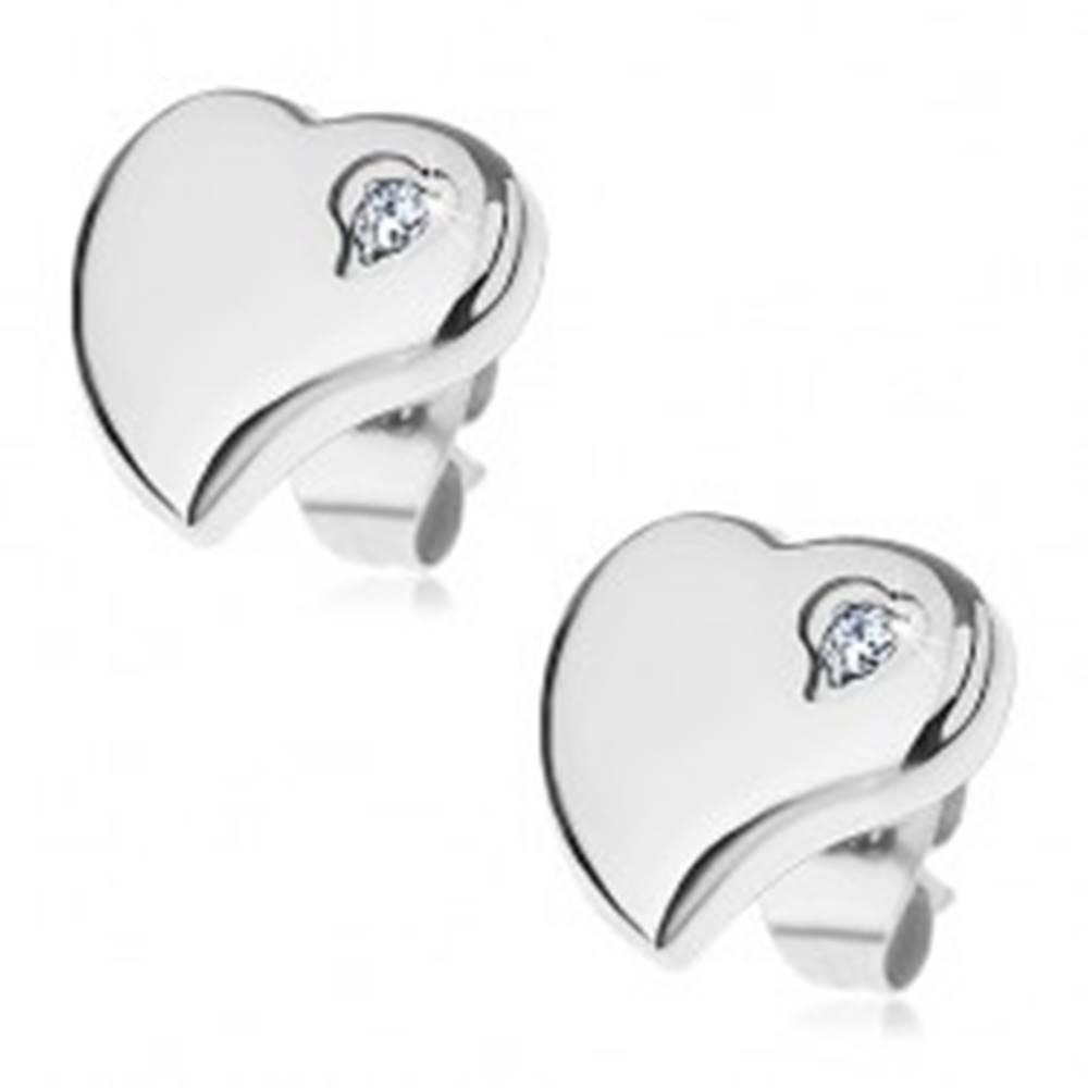 Šperky eshop Náušnice z chirurgickej ocele - asymetrické srdce so zirkónikom