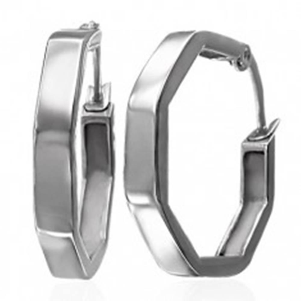 Šperky eshop Náušnice z chirurgickej ocele - sedemhranné, strieborná farba