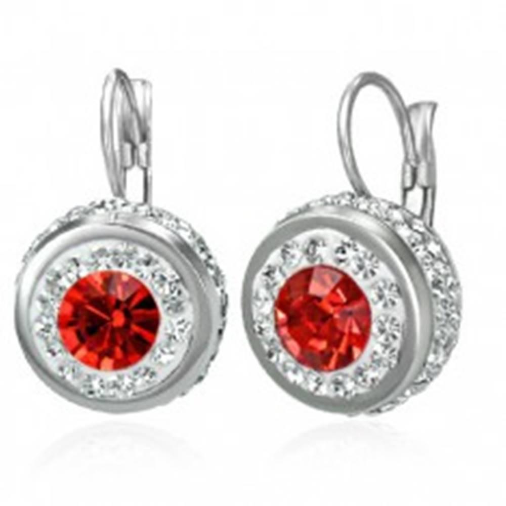 Šperky eshop Oceľové náušnice s červeným zirkónom a malými zirkónikmi po obvode