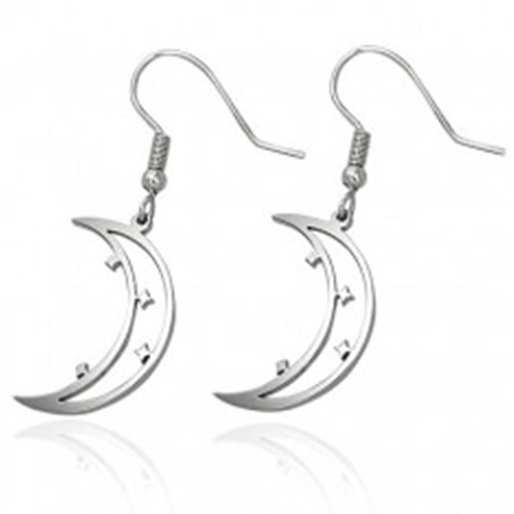 Šperky eshop Oceľové náušnice striebornej farby, mesiačik s hviezdičkami, afroháčiky