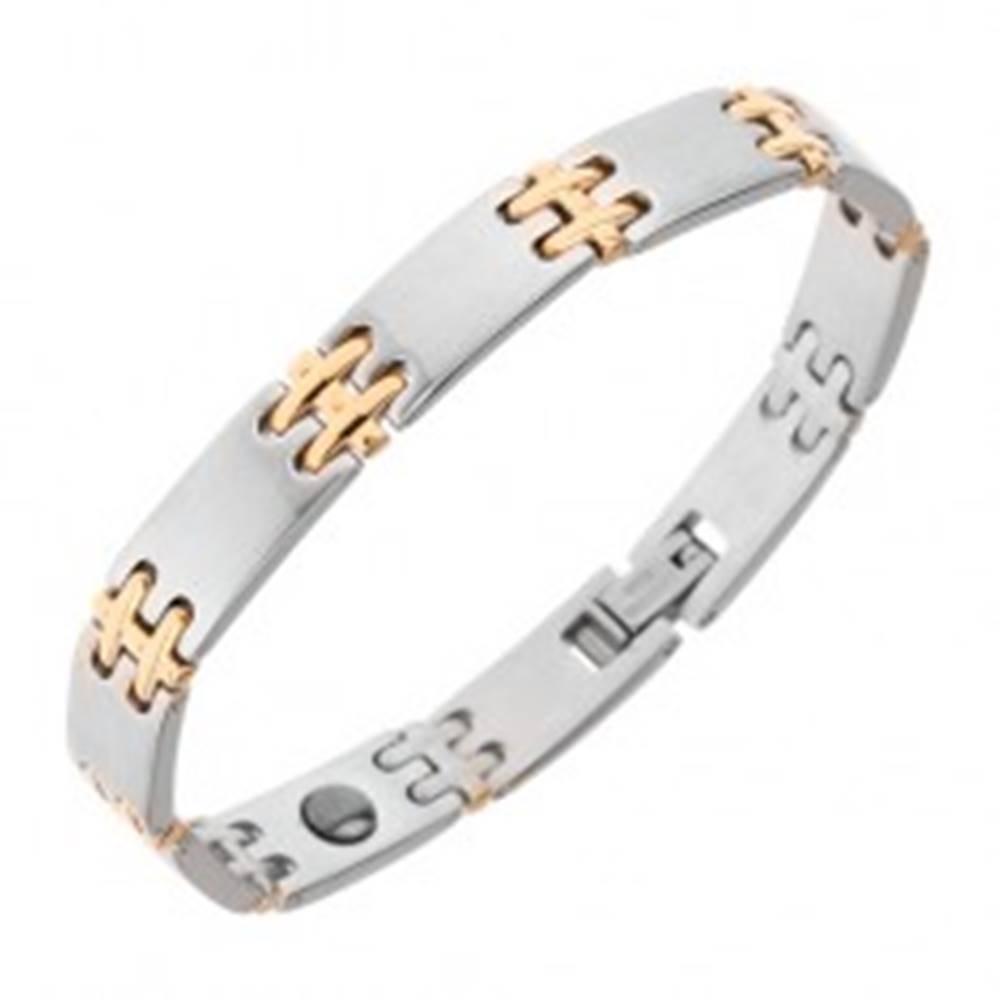 Šperky eshop Oceľový náramok na ruku, matné články, lesklé H spoje zlatej farby, magnety