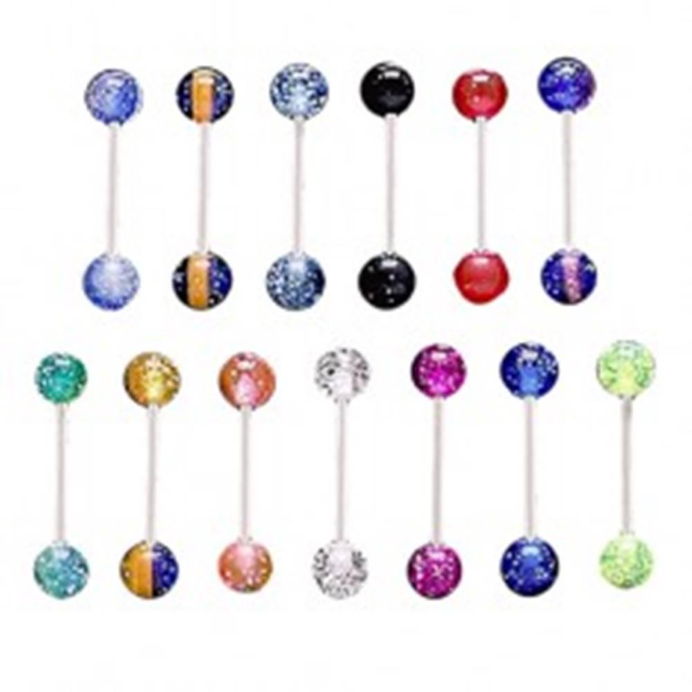 Šperky eshop Oceľový piercing do jazyka, priehľadné akrylové guličky s konfetami - Farba piercing: Čierna